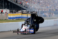 Sept. 6, 2010; Clermont, IN, USA; NHRA top fuel dragster driver Shawn Langdon during the U.S. Nationals at O'Reilly Raceway Park at Indianapolis. Mandatory Credit: Mark J. Rebilas-