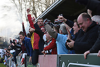 Grimsby Town fans celebrate their first goal during the FA Trophy Semi Final first leg match between Bognor Regis and Grimsby Town at Nyewood Lane, Bognor Regis, England on 12 March 2016. Photo by Paul Paxford/PRiME Media Images.