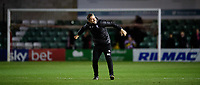 Lincoln City's assistant manager Nicky Cowley celebrates the win at the end of the game<br /> <br /> Photographer Chris Vaughan/CameraSport<br /> <br /> Emirates FA Cup First Round - Lincoln City v Northampton Town - Saturday 10th November 2018 - Sincil Bank - Lincoln<br />  <br /> World Copyright © 2018 CameraSport. All rights reserved. 43 Linden Ave. Countesthorpe. Leicester. England. LE8 5PG - Tel: +44 (0) 116 277 4147 - admin@camerasport.com - www.camerasport.com