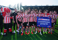 Lincoln City players celebrate securing the League 2 Title<br /> <br /> Photographer Andrew Vaughan/CameraSport<br /> <br /> The EFL Sky Bet League Two - Lincoln City v Tranmere Rovers - Monday 22nd April 2019 - Sincil Bank - Lincoln<br /> <br /> World Copyright © 2019 CameraSport. All rights reserved. 43 Linden Ave. Countesthorpe. Leicester. England. LE8 5PG - Tel: +44 (0) 116 277 4147 - admin@camerasport.com - www.camerasport.com