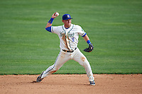 Hartford Yard Goats shortstop Pat Valaika (10) throws to first base during the first game of a doubleheader against the Trenton Thunder on June 1, 2016 at Sen. Thomas J. Dodd Memorial Stadium in Norwich, Connecticut.  Trenton defeated Hartford 4-2.  (Mike Janes/Four Seam Images)