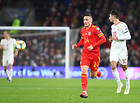 19th November 2019; Cardiff City Stadium, Cardiff, Glamorgan, Wales; European Championships 2020 Qualifiers, Wales versus Hungary; Connor Roberts of Wales follows a through ball- Editorial Use