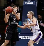 SIOUX FALLS, SD: MARCH 23:  Kayonna Lee #3 of Central Missouri shields the ball from Jodi Johnson #21 of Ashland during their game at the 2018 Division II Women's Basketball Championship at the Sanford Pentagon in Sioux Falls, S.D. (Photo by Dick Carlson/Inertia)