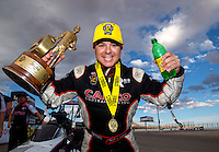 Oct 30, 2016; Las Vegas, NV, USA; NHRA top fuel driver Steve Torrence celebrates after winning the Toyota Nationals at The Strip at Las Vegas Motor Speedway. Mandatory Credit: Mark J. Rebilas-USA TODAY Sports