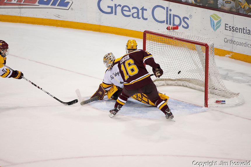 14 Oct 11: Nate Condon (Minnesota - 16) Overtime game winner. The University of Minnesota-Duluth Bulldogs host the University of Minnesota Golden Gophers in a WCHA matchup at Amsoil Arena in Duluth, MN.