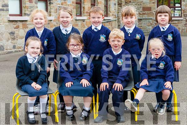 Children attending their first day at school at Templeglantine N.S.<br /> Front :Melanie Sheehan, Ruth Dalton, Shay McCarthy, Katie Sexton. <br /> Back: Kayla McNamara, Ava Relihan, Cian Brosnan, Amelia Galvin, Aoibhinn McAuliffe.