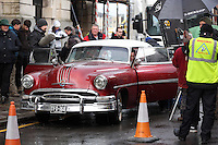 Pictured: Elijah Wood in a 1950s Pontiac Chieftain. Tuesday 11 February 2014<br />