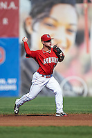 Auburn Doubledays second baseman Dalton Dulin (1) throws to first during a game against the Mahoning Valley Scrappers on June 19, 2016 at Falcon Park in Auburn, New York.  Mahoning Valley defeated Auburn 14-3.  (Mike Janes/Four Seam Images)