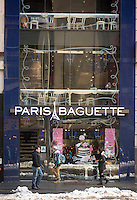 A Paris Baguette restaurant-cafe located in Midtown Manhattan in New York is seen on Friday, February 14, 2014. The chain specializes in French-Asian influenced pastries. (© Richard B. Levine)