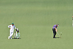 AUGUSTA, GA - APRIL 12: Phil Mickelson hits off the fairway with his caddie during the Second Round of the 2013 Masters Golf Tournament at Augusta National Golf Club on April 10in Augusta, Georgia. (Photo by Donald Miralle) *** Local Caption ***