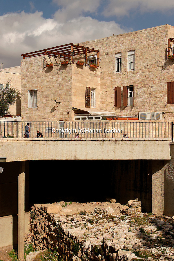 Israel, the Jewish Quarter at the Old City of Jerusalem. The Broad Wall, 22 ft thick was part of the fortifications built by King Hezekiah in the 8th century BC