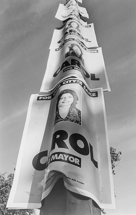 Carol Schwartz for mayor signs at the independence SE., on Oct. 20, 1994. (Photo by Maureen Keating/CQ Roll Call via Getty Images)
