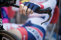 Lars Bak (DNK) waiting to go onto the TT start podium<br /> <br /> Tour de France 2013<br /> stage 11: iTT Avranches - Mont Saint-Michel <br /> 33km
