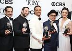 Tony Shalhoub, Itamar Moses, Ari'el Stachel, David Yazbek and Katrina Lenk pose in the 72nd Annual Tony Awards Press Room at 3 West Club on June 10, 2018 in New York City.