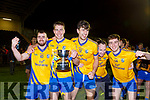 Padraig Doona, Nathan Breen, Fergal Hallissey, Kevin O'Brien and Ciaran Kennedy celebrates lifting the cup after beating Dromtarriffe in the Munster Junior final in Mallow on Sunday