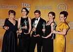 LOS ANGELES, CA - JANUARY 27: Phyllis Logan, Michelle Dockery, Allen Leech, Amy Nutall and Sophie McSheara  pose at the 19th Annual Screen Actors Guild Awards at The Shrine Auditorium on January 27, 2013 in Los Angeles, California.