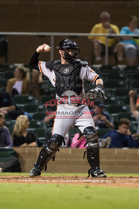 Scottsdale Scorpions catcher Matt Winn (16), of the San Francisco Giants organization, throws during an Arizona Fall League game against the Salt River Rafters at Salt River Fields at Talking Stick on October 11, 2018 in Scottsdale, Arizona. Salt River defeated Scottsdale 7-6. (Zachary Lucy/Four Seam Images)