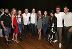 "Brandon James Ellis, Lili Reinhart. Madelaine Petsch, Casey Cott, Corey Cott, Laura Osnes, Camila Mendes, Marisol Nichols, KJ Apa and Joe Carroll backstage at Broadway's ""Bandstand"" at the Bernard Jacobs Theate on May 19, 2017 in New York City."