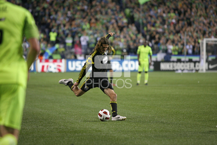 Frankie Hejduk (2) of the Columbus Crew kicks the ball. The Seattle Sounders FC defeated the Columbus Crew 2-1 during the US Open Cup Final at Qwest Field in Seattle,WA, on October 5, 2010.