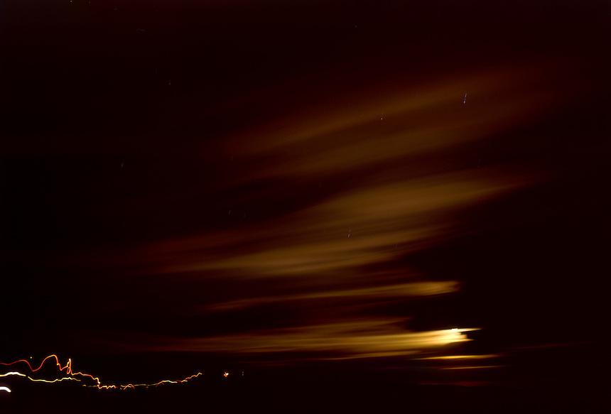 Hikers Making Way to Kalapana Lava Flows at Night, Hawai'i Volcanoes National Park, Big Island, Hawaii, US