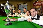 The New Institute Team from Nenagh, County Tipperary who won the Gleneagle All-Ireland Team Snooker Champiopnship in Killarney at the weekend pictured receiving their trophy from Patrick O'Donoghue, The Gleneagle Hotel. Included are from left, The New Institute Team from Nenagh, County Tipperary who won the Gleneagle All-Ireland Team Snooker Champiopnship in Killarney at the weekend. Included are from left, David Horan, Brendan O'Donoghue, Tony Seymore,  Andrew McCloskey and  Mark Walsh, captain.<br /> Photo Don MacMonagle