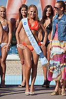 Szimonetta Simon winner of the prize for the most back butt during the Miss Bikini beauty contest held in Budapest, Hungary. Sunday, 29. August 2010. ATTILA VOLGYI