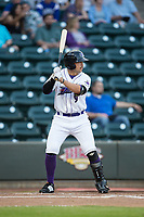 Brady Conlan (9) of the Winston-Salem Dash at bat against the Buies Creek Astros at BB&T Ballpark on April 13, 2017 in Winston-Salem, North Carolina.  The Dash defeated the Astros 7-1.  (Brian Westerholt/Four Seam Images)