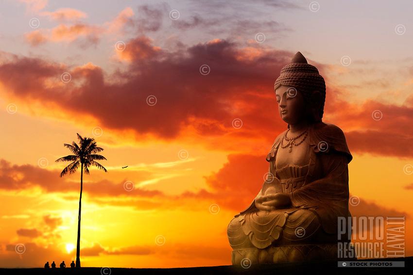 A peaceful sunset behind the Buddha statue at the Hilton Waikoloa Village, Kohala Coast, Big Island.