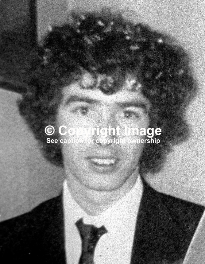 Mervyn McDonald, 26 years, father of Margaret McDonald, 4 months, and her brother, Seamus, 30 months, who died 9th July 1976 in a sectarian killing admitted by the UFF / UDA. His wife, Rosaleen McDonald, 24 years also died in the attack.. Their home at Longlands Road, Newtownabbey, N Ireland, was described as being in a mixed area i.e. where Protestants and Roman Catholics lived side by side. 197607090384b<br /> <br /> Copyright Image from Victor Patterson, 54 Dorchester Park, Belfast, United Kingdom, UK.  Tel: +44 28 90661296; Mobile: +44 7802 353836; Voicemail: +44 20 88167153;  Email1: victorpatterson@me.com; Email2: victor@victorpatterson.com<br /> <br /> For my Terms and Conditions of Use go to http://www.victorpatterson.com/Terms_%26_Conditions.html