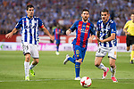 Deportivo Alaves's midfielder Manuel Alejandro Garcia  and defender Theo Hernandez and FC Barcelona's forward Leo Messi during Copa del Rey (King's Cup) Final between Deportivo Alaves and FC Barcelona at Vicente Calderon Stadium in Madrid, May 27, 2017. Spain.<br /> (ALTERPHOTOS/BorjaB.Hojas)