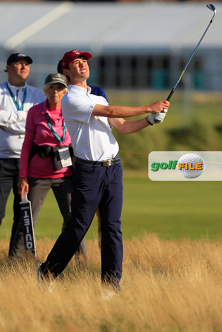 Cole Hammer (USA) on the 17th during Day 1 Singles of the Walker Cup at Royal Liverpool Golf CLub, Hoylake, Cheshire, England. 07/09/2019.<br /> Picture: Thos Caffrey / Golffile.ie<br /> <br /> All photo usage must carry mandatory copyright credit (© Golffile | Thos Caffrey)