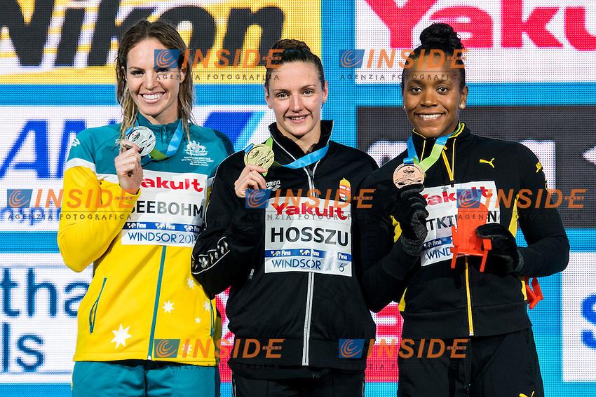 HOSSZU Katinka HUN Gold Medal<br /> SEEBOHM Emily AUS Silver Medal<br /> ATKINSON Alia JAM Bronze Medal<br /> Women's 100m Individual Medley<br /> 13th Fina World Swimming Championships 25m <br /> Windsor  Dec. 9th, 2016 - Day04 Finals<br /> WFCU Centre - Windsor Ontario Canada CAN <br /> 20161209 WFCU Centre - Windsor Ontario Canada CAN <br /> Photo &copy; Giorgio Scala/Deepbluemedia/Insidefoto