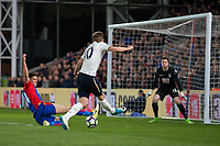 Tottenham Hotspur's Harry Kane sees his shot blocked by Crystal Palace's Martin Kelly      <br /> <br /> <br /> Photographer Craig Mercer/CameraSport<br /> <br /> The Premier League - Crystal Palace v Tottenham Hotspur - Wednesday 26th April 2017 - Selhurst Park - London<br /> <br /> World Copyright &copy; 2017 CameraSport. All rights reserved. 43 Linden Ave. Countesthorpe. Leicester. England. LE8 5PG - Tel: +44 (0) 116 277 4147 - admin@camerasport.com - www.camerasport.com