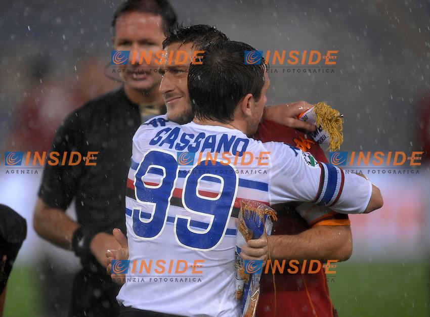 l'abbraccio tra antonio cassano e francesco totti<br /> Roma 29/10/2008 Stadio &quot;Olimpico&quot; <br /> Campionato Italiano Serie A 2008/2009<br /> Roma Sampdoria<br /> Foto Andrea Staccioli Insidefoto