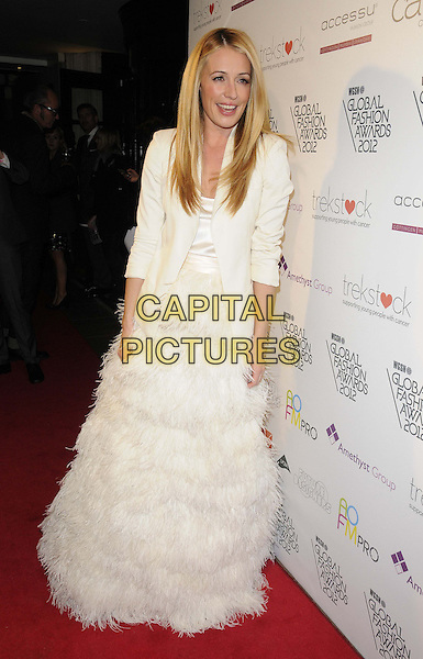 Cat Deeley.The WGSN Global Fashion Awards, Savoy Hotel, The Strand, London, England..November 5th, 2012.full length white dress blazer feathers .CAP/CAN.©Can Nguyen/Capital Pictures.