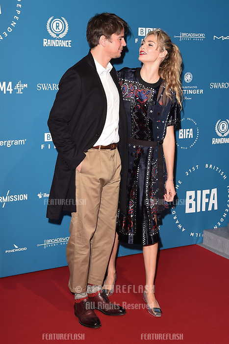LONDON, UK. December 02, 2018: Josh Hartnett & Tamsin Eggerton at the British Independent Film Awards 2018 at Old Billingsgate, London.<br /> Picture: Steve Vas/Featureflash