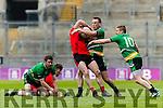 Stephen O'Sullivan Glenbeigh Glencar in action against Diarmuid Carroll Rock Saint Patricks in the Junior Football All Ireland Final in Croke Park on Sunday.
