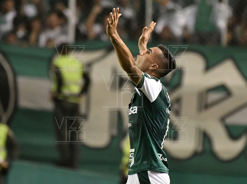 PALMIRA - COLOMBIA, 20-11-2019: Christian Rivera del Cali celebra después de anotar el segundo gol de su equipo durante partido entre Deportivo Cali y América de Cali por la fecha 4, cuadrangulares semifinales, de la Liga Águila II 2019 jugado en el estadio Deportivo Cali de la ciudad de Palmira. / Christian Rivera of Cali celebrates after scoring the second goal of his team during match between Deportivo Cali and America de Cali for the date 4, quadrangulars semifinals, as part of Aguila League II 2019 played at Deportivo Cali stadium in Palmira city. Photo: VizzorImage / Gabriel Aponte / Staff