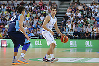 GB's Devon Van Oostrum looks for options during the EuroBasket 2015 2nd Qualifying Round Great Britain v Bosnia & Herzegovina (Euro Basket 2nd Qualifying Round) at Copper Box Arena in London. - 13/08/2014