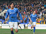 St Johnstone v Hearts....24.03.12   SPL.Fran Sandaza celebrates his penalty goal.Picture by Graeme Hart..Copyright Perthshire Picture Agency.Tel: 01738 623350  Mobile: 07990 594431