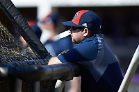 NJIT Highlanders head coach Brian Guiliana watches his team take batting practice prior to the game against the High Point Panthers at Williard Stadium on February 18, 2017 in High Point, North Carolina. The Panthers defeated the Highlanders 11-0 in game one of a double-header. (Brian Westerholt/Four Seam Images)
