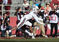 NWA Democrat-Gazette/CHARLIE KAIJO Mississippi State safety Jaquarius Landrews (11) picks off a pass intended for Arkansas wide receiver Mike Woods (8), Saturday, November 2, 2019 during the second quarter of a football game at Donald W. Reynolds Razorback Stadium in Fayetteville. Visit nwadg.com/photos to see more photographs from the game.