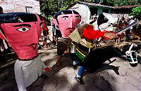Boi e Cabeçudos do grupo boi Faceiro brincam pelas ruas da cidade. A festa que parece mistura de boi bumbá e cordão de pássaros é conhecida como Boi de Máscaras. São Caetano de Odivelas - Pará- Brasil<br />24 a 27/06/2000.<br />©Foto: Paulo Santos/ Interfoto<br />Negativo Cor 135 Nº7534 T5 F14a