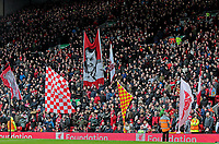 Liverpool fans in the KOP end at Anfield wave flags and banners ahead of kick-off<br /> <br /> Photographer Rich Linley/CameraSport<br /> <br /> The Premier League - Liverpool v Burnley - Sunday 12 March 2017 - Anfield - Liverpool<br /> <br /> World Copyright &copy; 2017 CameraSport. All rights reserved. 43 Linden Ave. Countesthorpe. Leicester. England. LE8 5PG - Tel: +44 (0) 116 277 4147 - admin@camerasport.com - www.camerasport.com