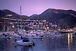 Purple evening sky over boats anchored in Avalon Harbor, Avalon, Catalina Island, California