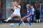 29 November 2013: Duke's Rebecca Quinn (CAN) (3) and Virginia Tech's Ashley Manning (12). The Virginia Tech University Hokies played the Duke University Blue Devils at Thompson Field in Blacksburg, Virginia in a 2013 NCAA Division I Women's Soccer Tournament Quarterfinal match. Virginia Tech won the game 3-0.