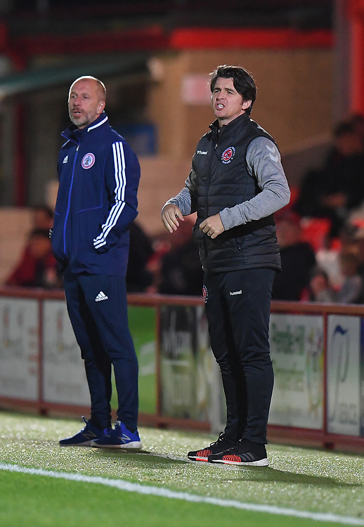 Fleetwood Town's Manager Joey Barton Shouts to his team during the game<br /> <br /> Photographer Dave Howarth/CameraSport<br /> <br /> EFL Leasing.com Trophy - Northern Section - Group B - Tuesday 3rd September 2019 - Accrington Stanley v Fleetwood Town - Crown Ground - Accrington<br />  <br /> World Copyright © 2019 CameraSport. All rights reserved. 43 Linden Ave. Countesthorpe. Leicester. England. LE8 5PG - Tel: +44 (0) 116 277 4147 - admin@camerasport.com - www.camerasport.com