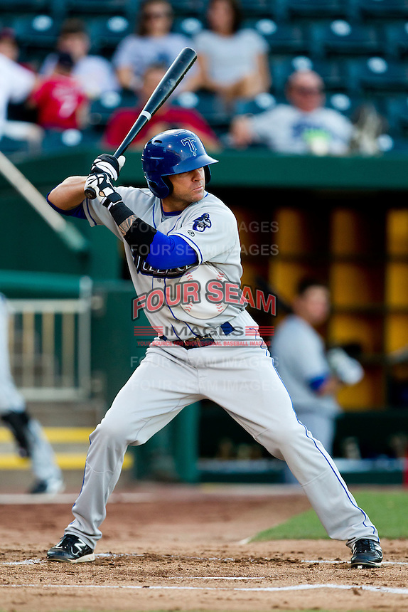 Scott Beerer (15) of the Tulsa Drillers at bat during a game against the Springfield Cardinals at Hammons Field on July 18, 2011 in Springfield, Missouri. Tulsa defeated Springfield 13-8. (David Welker / Four Seam Images)
