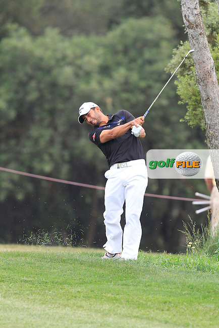 Pablo Larrazabal (ESP) on the 18th fairway during Round 1 of the Open de Espana  in Club de Golf el Prat, Barcelona on Thursday 14th May 2015.<br /> Picture:  Thos Caffrey / www.golffile.ie