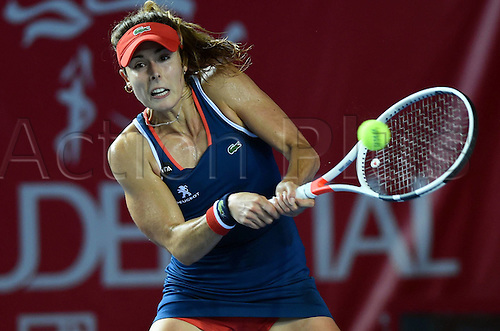 13.10.2016. Hong Kong, China.  Alize Cornet of France returns the ball during for womens  singles second round match against Venus Williams of the United States at the WTA Tennis Damen Hong Kong Open tennis tournament in Hong Kong, south China, Oct. 13, 2016. Cornet won 2-1.